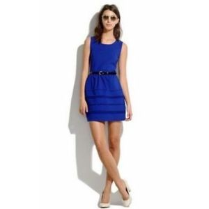 Madewell Blue Ponte Fit & Flare Silhouette Dress